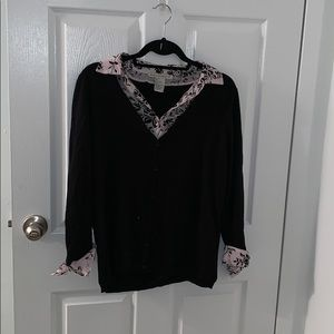 Button Down Sweater with false collered shirt